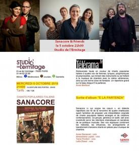 """Le """"duo Pozzi-Cueco"""" a été invité par le quatuor vocal """"Sanacore"""" pour le concert de sortie de leur nouveau CD (Buda Musique) au """"Studio de L'Ermitage """"(Paris 20)"""